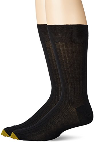 Gold Toe Men's Comfort Top Non-Elastic English Rib Crew 2 Pack S8, Black, 11.5-12 ()