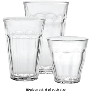 Duralex Picardie Glass Tumblers French Bistro 18Pc Set. Amazon com   Duralex Picardie Glass Tumblers French Bistro 18Pc