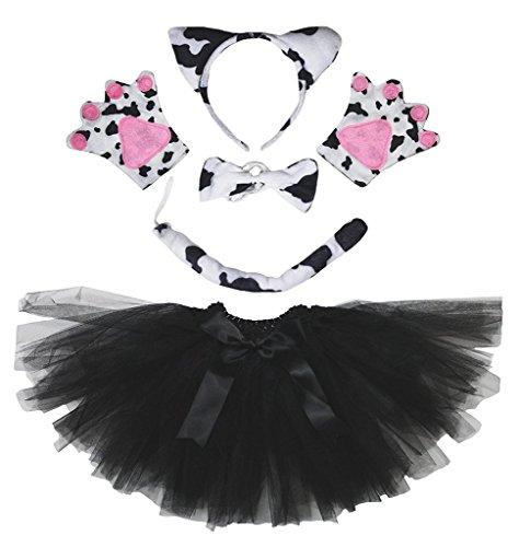 (Petitebella Headband Bowtie Tail Gloves Tutu Unisex Children 5pc Girl Costume (Milk)