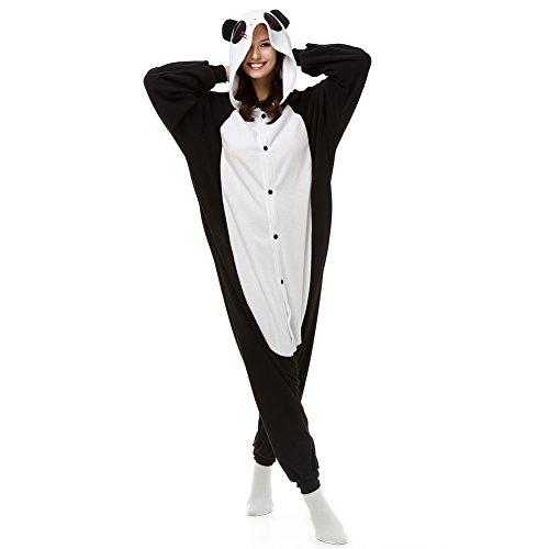 Adultos ojos rojos Panda Onesie PIJAMAS de forro polar pijama Cartoon Animal disfraz de Halloween cosplay Unisex negro negro S (Altura 124,97-158,50 cm)