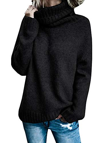 Abninigee Womens Chunky Long Sleeve Pullover Loose Fit Turtle Neck Knitting Sweater