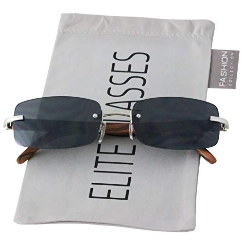 (Slim Rimless Rectangular Sunglasses with Metal Wood Print Frame Luxe Dean (Silver & Cherry Wood))