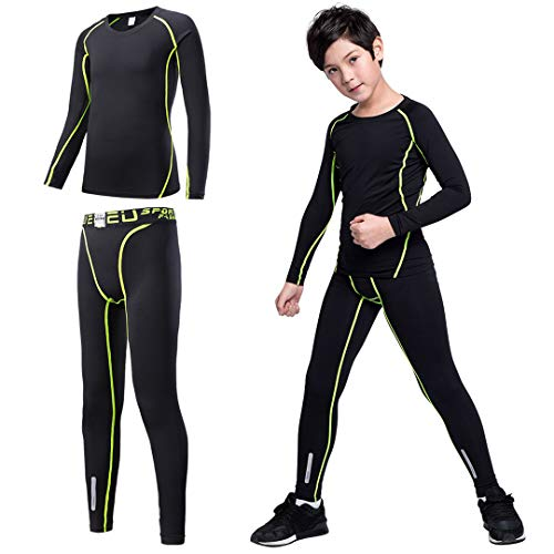 Tesuwel 2/3/4 Pcs Boys Girls Base Layer Athletic Compression Leggings and Shirts Thermal Underwear Set Running Pants Tights