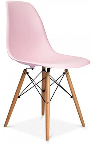 Set of 2 DS Inspired Dining Plastic Chairs Modern Lounge Office Furniture (Pink) Pink