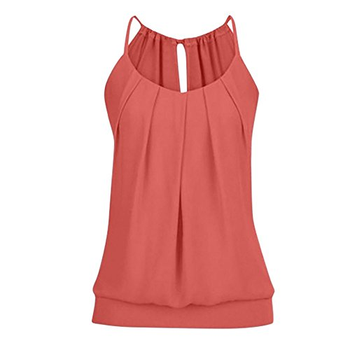 Sunhusing Women's Loose Pleated Round Neck Drawstring Lace-Up Camisole Tank Tops Wrinkled Vest Red