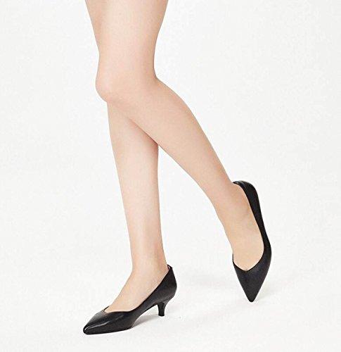 La De Moda Nueva Tip Corte Bombas Tacones Tacones Sandalias Ximu Mujer Black Zapatos Altos Cómodas Gatitos TOd7q5