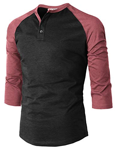 H2H Men's Casual Slim Fit 3/4 Sleeve Henley T-Shirts Cotton Blended Shirts Maroon US S/Asia M (CMTTS234)