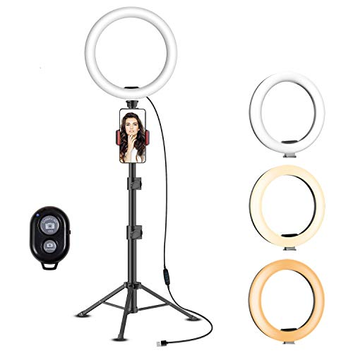 """Yesker 10.2"""" Selfie Ring Light Dimmable with Tripod Stand Cell Phone Holder Mini Led Camera Ringlight for Live Streaming Makeup YouTube Video Photography Compatible iPhone Android Remote Control"""