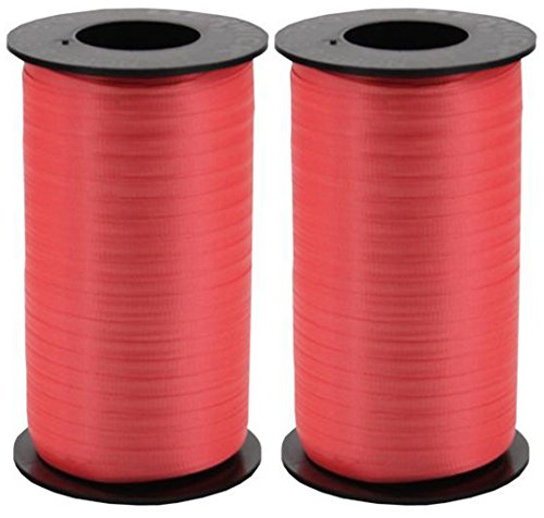 Red Spool - 2-Pack - Berwick Splendorette Crimped Curling Ribbon, 3/16-Inch Wide by 500-Yard Spools, Red