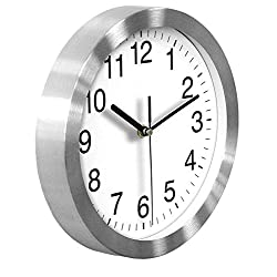 HeQiao Silent 10 Inch Quartz Wall Clock Aluminum Frame Analog Clock for Home Office School (Elegant Silver)