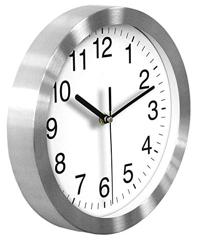 HeQiao Silent 10 Inch Quartz Wall Clock Aluminum Frame Glass Cover Analog Clock for Home Office School (Elegant Silver) ()
