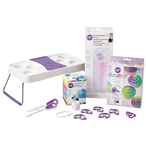 Wilton Color Swirl Cupcake Decorating Supplies Kit, 19-Piece - Color Swirl Three-Color Coupler, Gel-Based Food Colors, Decorating Bag Holder, Icing Bag Ties, Bag Cutter and Brush (Cake Pop Tips)