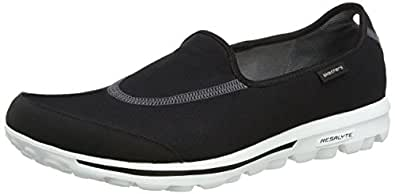 Skechers Performance Women's Go Walk Slip-On Walking Shoe,Black/White,5 M US