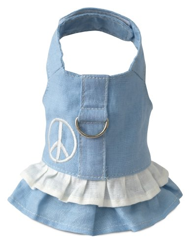 Doggles Hemp Dress Dog Harness with Peace Sign, Blue, - Doggles Harness Dress