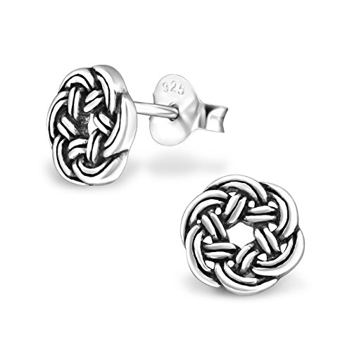 (925 Sterling Silver Hypoallergenic Round Celtic Knot Stud Earrings for Girls 31682)