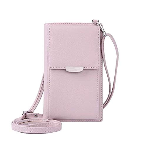 Small Crossbody Bag, Roomy Pockets Mini Leather Wallet Bag Coin Cell Phone Purse Handbag Shoulder Bag with Strap for Women Girl Pink