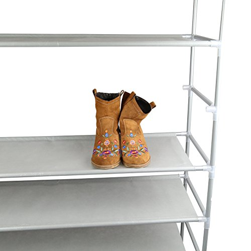 SmartHome 10 Tiers Shoe Rack 50 Pairs Non Woven Fabric Shoe Tower Storage  Organizer Cabinet Grey   HomeGoodsReview