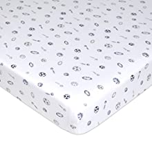 TL Care Fitted Pack N Play Playard Sheet 100% Natural Cotton Value Jersey Knit, Sports, Soft Breathable, for Boys and Girls
