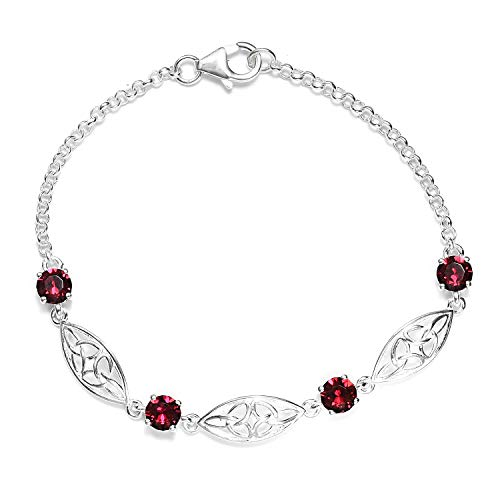 925 Sterling Silver Made with SWAROVSKI Round Ruby Crystal Bolo Bracelet for Women Hypoallergenic Jewelry Size 7.25
