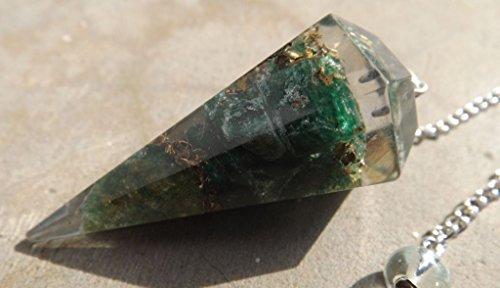 Faceted orgone healing green aventurine crystal dowsing pendulum