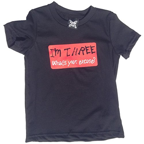 YoungPunks Big Boys I'm Three - What's Your Excuse T Shirt Youth 8 Black - Excuse Youth T-shirt
