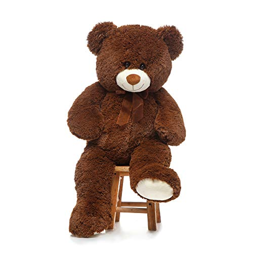 DOLDOA Giant Teddy Bear Soft Stuffed Animals Plush Big Bear Toy for Kids,Girlfriend 35.4 inch(Chocolate)