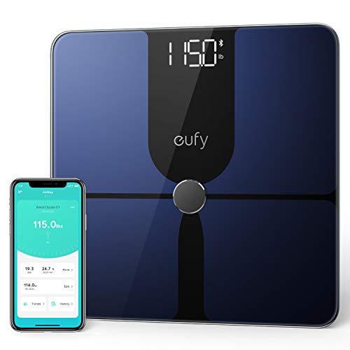 eufy Smart Scale P1 with Bluetooth, Body Fat Scale, Wireless Digital Bathroom Scale, 14 Measurements, Weight/Body Fat/BMI, Fitness Body Composition Analysis, Black/White, lbs/kg (Best 3rd Party Android App Store)