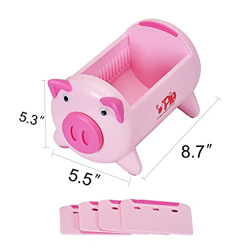 T O K G O - Creative Pigs Plastic Office Desktop Stationery Pencil Holder Makeup Pen holder Cell Phone Remote Control Storage Box Organizer with 4 Adjustable Spaces Photo #5