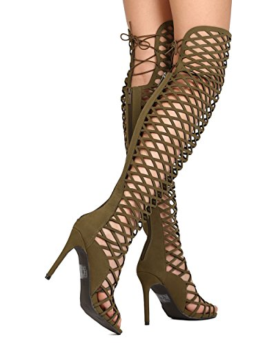 Breckelles FI53 Women Leatherette Thigh High Peep Toe Lace Up Cut Out Stiletto Boot Olive I7Qw2