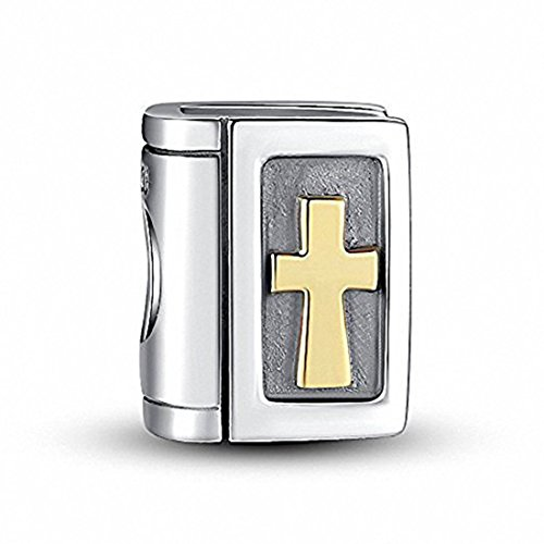 (925 Sterling Silver Bible Charm Cross Charm Christian Charm Keep Faith Charm for Pandora Charms Bracelet)