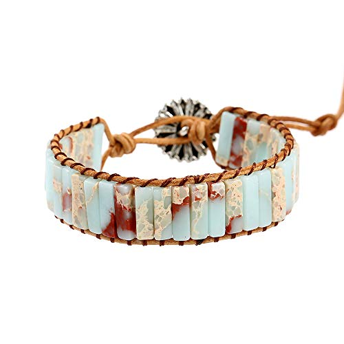 IUNIQUEEN Genuine Leather Natural Stone 1 wrap Bead Adjustable Girl Bracelet Collection (Agalmatolite) ()