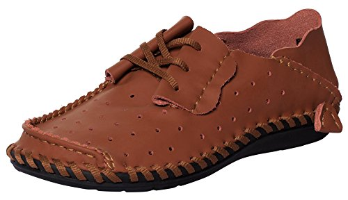 CAIHEE Men 's Casual Hollow Out Artificial Leather Breathable Walking Shoes Driving Loafers (10 D(M) US, Brown)