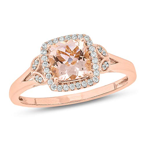 (Jewel Monk 10K Rose Gold 1 Carat Round-Cut (I-J Color, I2-I3 Clarity) Natural Diamond Ring for Women, US Size 7)