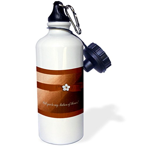 3dRose Beverly Turner Wedding Attendant and Bridal Party Design - Matron of Honor Request, Autumn Orange Ribbon with Flower on Peach - 21 oz Sports Water Bottle (wb_43427_1) ()