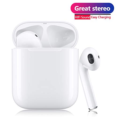 Bluetooth 5.0 Wireless Earbuds Noise Canceling Sports Earphones with【12 Hrs Charging Case】 IPX5 Waterproof TWS Stereo Headphones in-Ear Built-in Mic Headset for iPhone/Android Apple Airpods ()