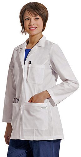 Landau Women's Princess Seamed Lab Coat Large White by Scrub Zone