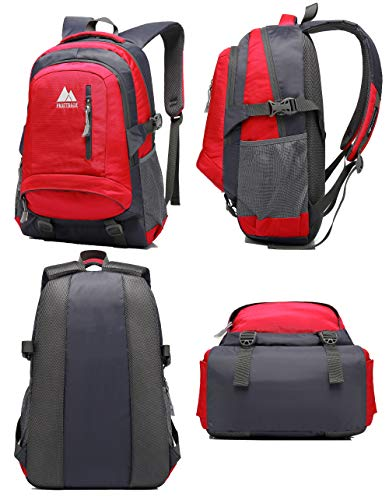School Backpack BookBag For College Travel Hiking Fit Laptop Up to 15.6 Inch Water Resistant (Red) by ProEtrade (Image #4)