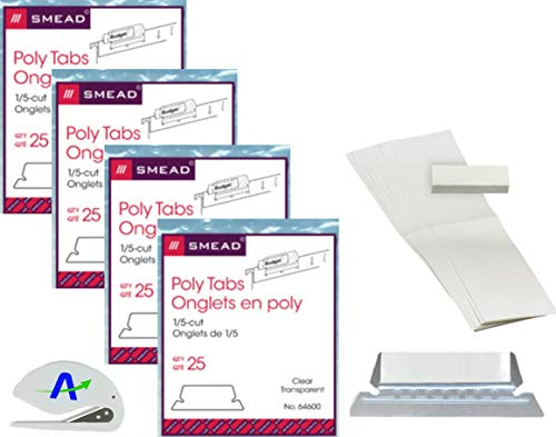 1/5 Cut Smead - Smead Poly Tab, 1/5-Cut, Clear, 4 Pack Bundle, 25 Per Pack (64600) 100 Total Tabs and Inserts