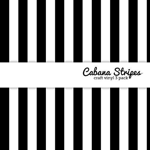 Vinyl Striped (Cabana Stripes Black & White Multi-Pack Printed Craft Vinyl 3 Sheets 12x12 for Vinyl Cutters)