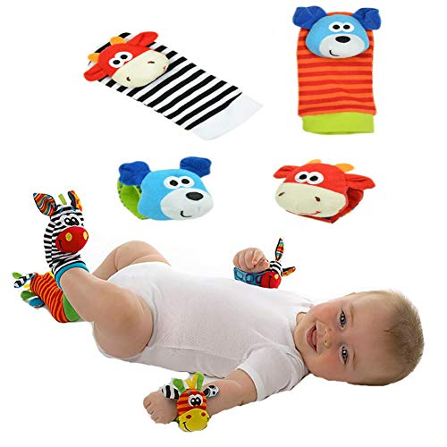 Baby Ankle Socks, Cute Cartoon Animal Infant Crew Socks Wrist Rattles with Grips for Newborn Boy Girls Toy, Bear and Cow #4