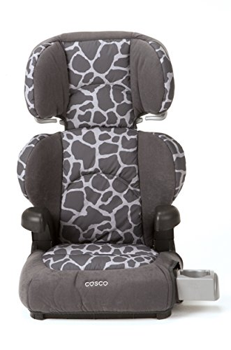 Cosco Pronto! Booster Car Seat for Children, Adjustable Headrest, Integrated Cup Holders, Kimba Giraffe Car Seat Cover