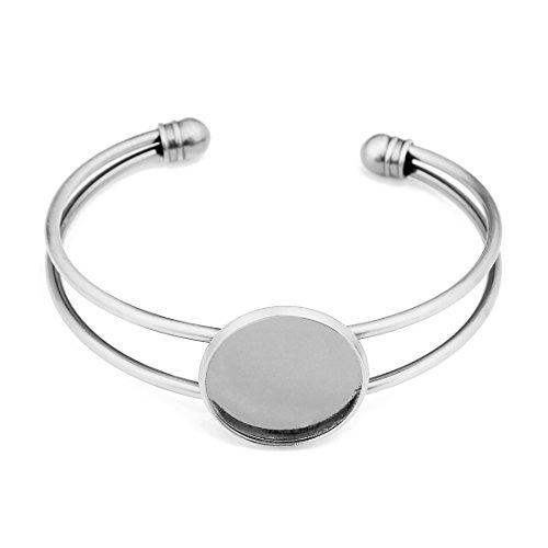 Linsoir beads 20mm Round Bangle Bracelet Blank Tray Cabochon Cameo Base Bezel Setting Accessories Silver Tone 5 Pcs ()
