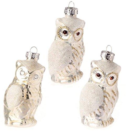 Set of 3 glass owl ornaments