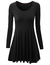 Doublju Long Raglan Sleeve Scoop Neck Flare Tunic Dress Top ( Plus size available ) BLACK X-SMALL