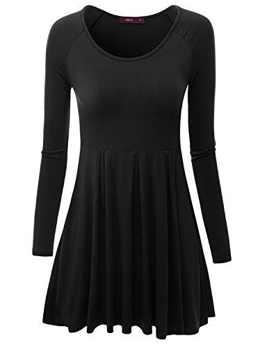 Doublju Long Raglan Sleeve Scoop Neck Flare Tunic Dress Top ( Plus size available ) BLACK X-SMALL (Raglan Flare Dress)