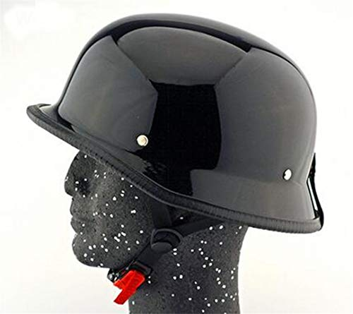 - Heavenly Zhole Matte German Half Face Helmet Unisex DOT Retro Motorcycle Helmets Head Protection Hats Black Bright Black XL