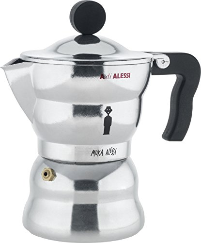 Alessi AAM33/3Moka Stove Top Espresso 3 Cup Coffee Maker in Aluminium Casting Handle And Knob in Thermoplastic Resin, Black