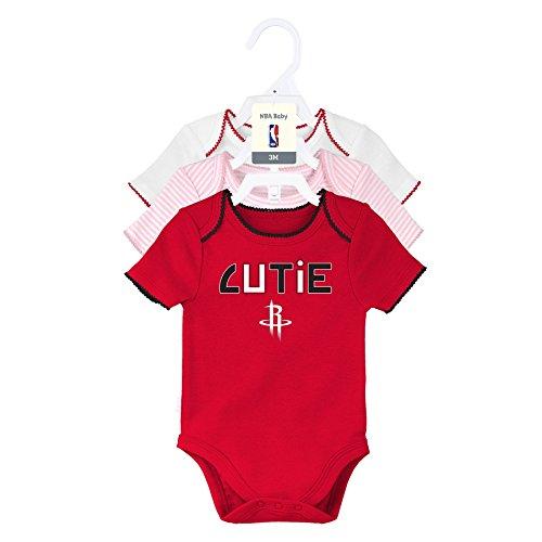 Outerstuff NBA Houston Rockets Newborn 3Rd Quarter 3Piece Onesie Set, 0-3 Months, Light Pink, White, Red by Outerstuff