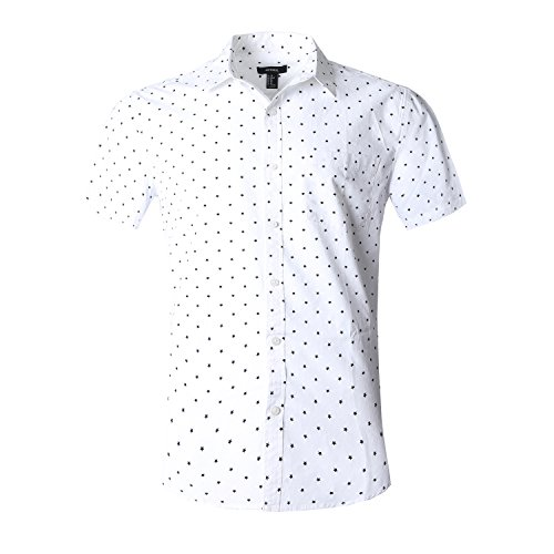 NUTEXROL Men's Star Print Casual Shirt Short Sleeve Cotton Shirts Black(star) S ()