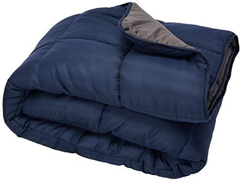 Linenspa All-Season Reversible Down Alternative Quilted Comforter - Hypoallergenic - Plush Microfiber Fill - Machine Washable - Duvet Insert or Stand-Alone Comforter - Navy/Graphite - King
